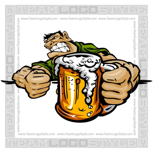 Angry Drunk Cartoon - Vector Clipart Image