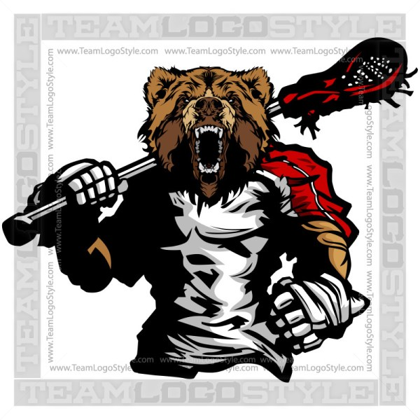 Bear Lacrosse Silhouette - Sports Clipart Image