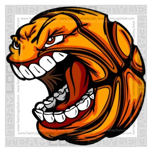 Basketball Cartoon Face - Clipart Vector Image