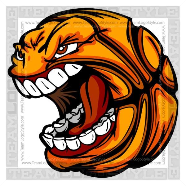 Basketball Cartoon Face - Clipart Vector Image