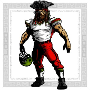 Pirate Football Clipart Vector Mascot Image