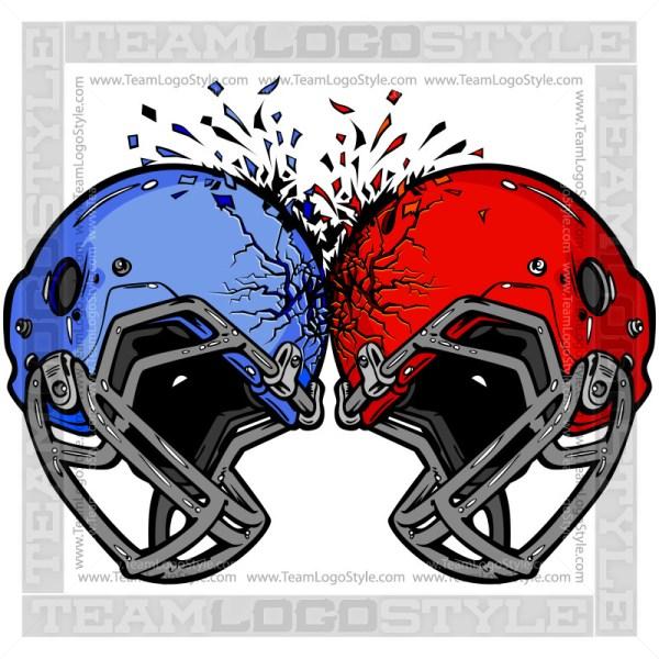 Crashing Football Helmet Logo Clipart Image