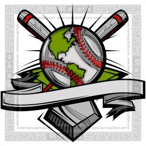 Baseball Globe Logo Vector Graphic Clipart