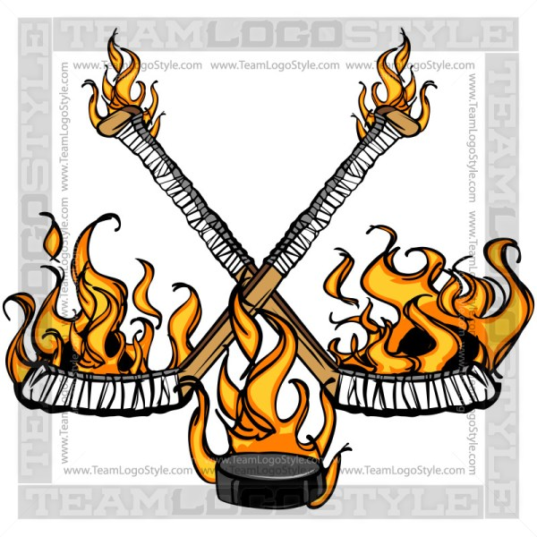 Flaming Hockey Logo Clipart Cartoon Image