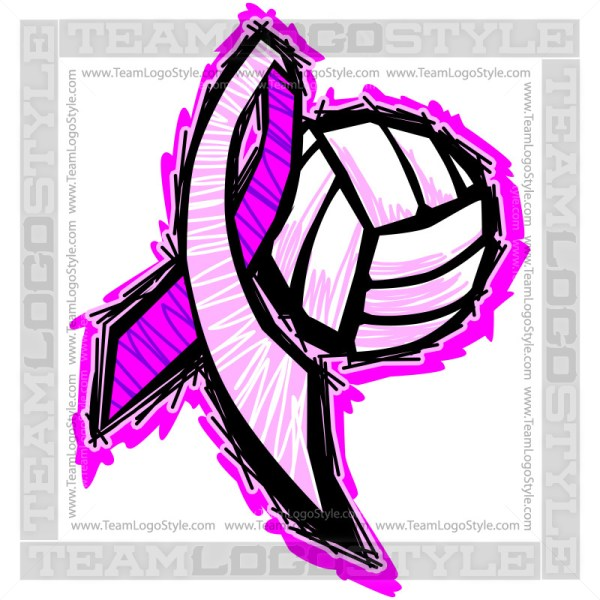 Cancer Volleyball Ribbon Vector Graphic Image