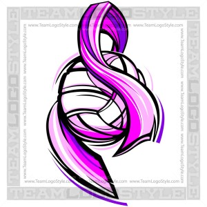 Pink Volleyball Ribbon Vector Graphic Image