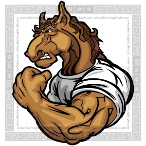 Muscular Horse Cartoon Vector Art