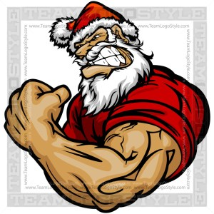 Strong Santa Cartoon Vector Art