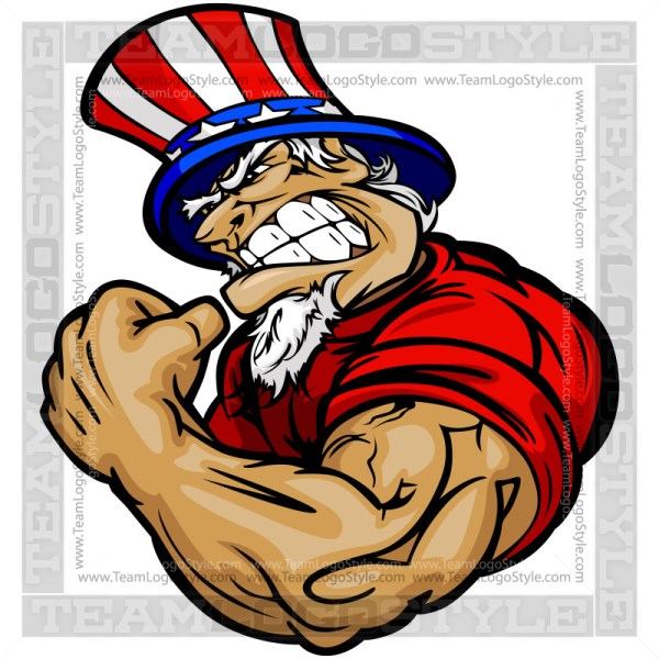 Strong Uncle Sam Cartoon Vector Art