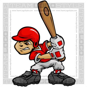 Youth Baseball Clipart Vector Cartoon Image