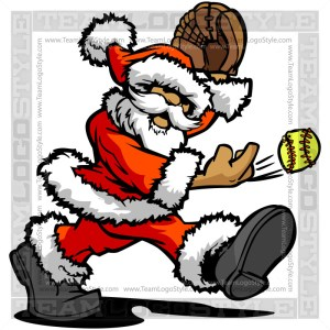 Santa Clause Softball Cartoon Clipart Image
