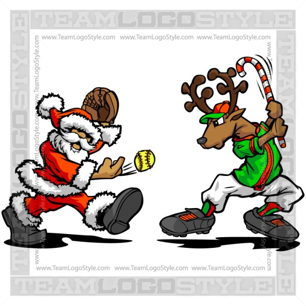 Santa Pitching Softball to Reindeer Clipart Cartoon