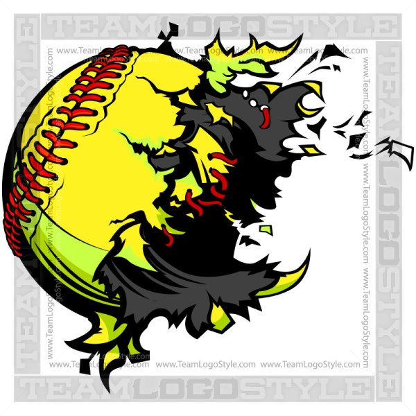 Softball Exploding Clipart