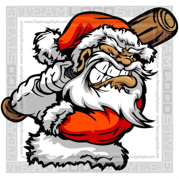 Santa Baseball Cartoon
