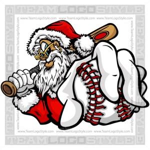 Santa Claus Holding Baseball Clipart Image