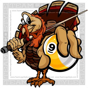 Thanksgiving Billiards Clipart - Turkey with Cue