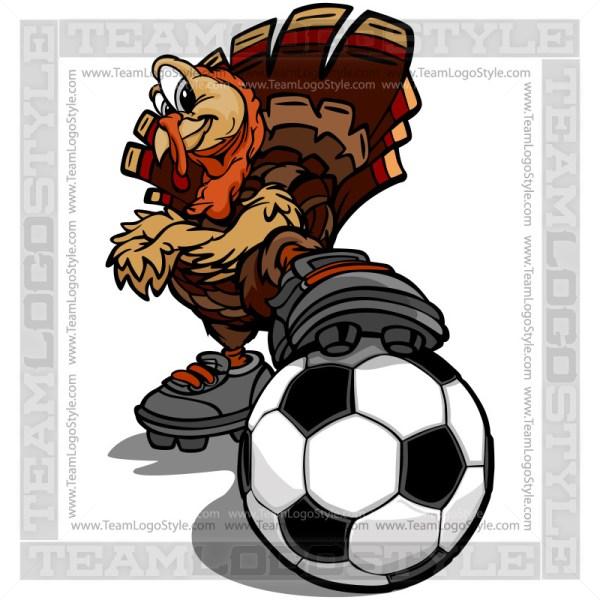 Thanksgiving Soccer Clipart - Turkey Bird Cartoon