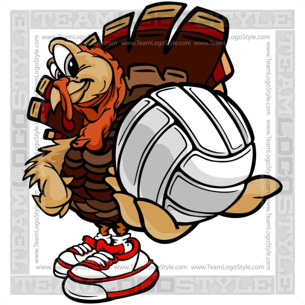 Thanksgiving Turkey Volleyball - Holiday Clipart Image
