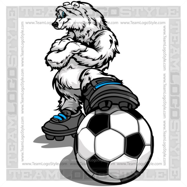 Polar Bear Soccer Player Cartoon