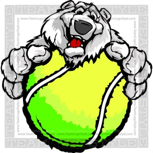 Polar Bear with Tennis Ball -Clipart Image