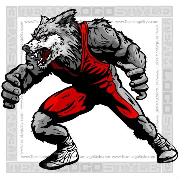 Wolf Wrestling Clip Art