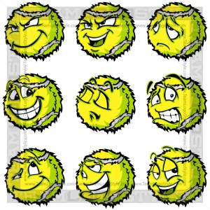 Sad Tennis Ball Clip Art Image