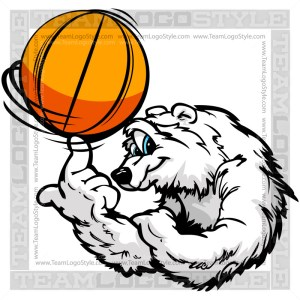 Polar Bear Spinning Basketball Clip Art Image