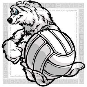Winter Volleyball Clip Art - Polar Bear