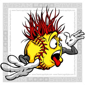 Wacky Softball Cartoon Clip Art Image