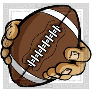 Hands Holding Football Cartoon - Clip Art Image