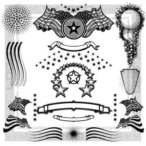 Vector Patriotic Elements - T-Shirt Design Set