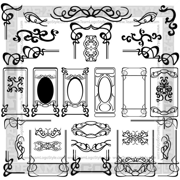 Art Nouveau Clip Art - T-Shirt Design Set