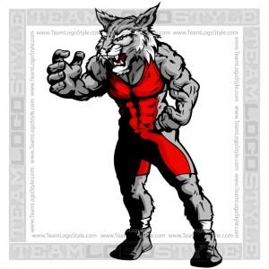 Wildcat Wrestler Mascot - Clipart Image