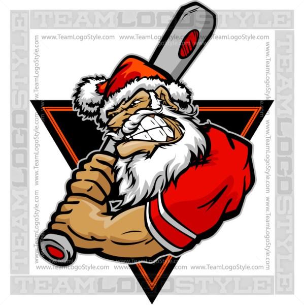 Santa Baseball Logo - Clip Art Image