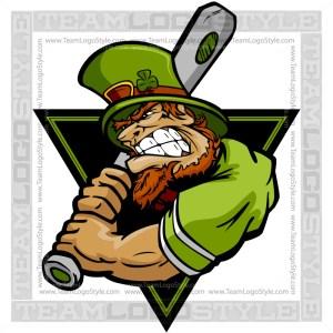 St Patricks Baseball Logo - Leprechaun