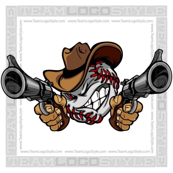 Baseball Cowboy Cartoon Clip Art Image