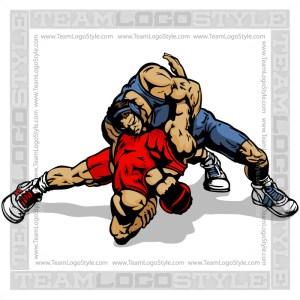 Vector Wrestlers Clip Art