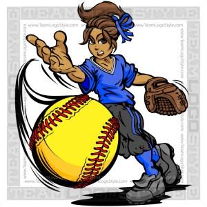 Girl Pitching Softball Vector Cartoon Image