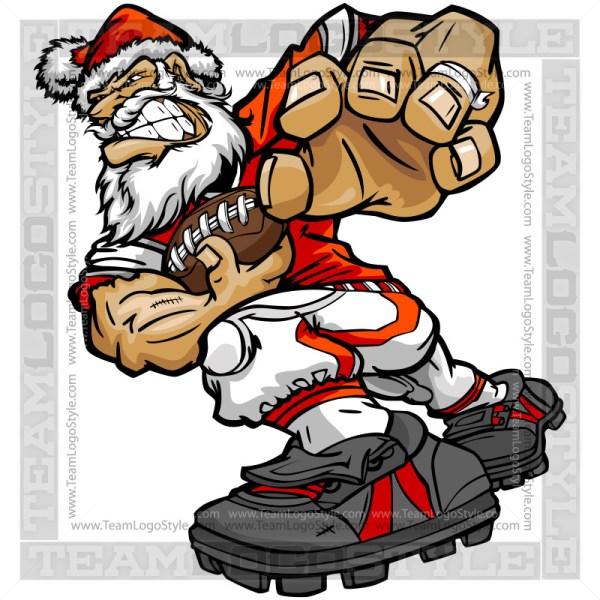Santa Claus Rushing Football