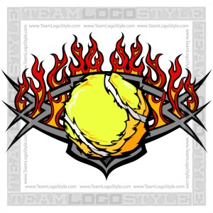 Vector Flaming Tennis Graphic