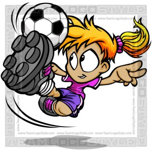 Soccer Girl Clip Art Vector Cartoon Image