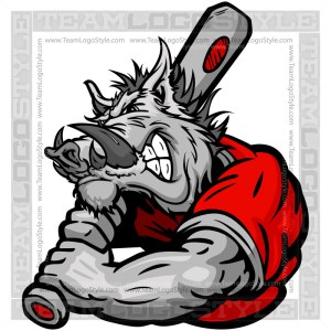 Cartoon Baseball Boar