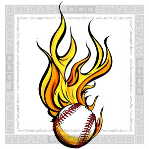 Flaming Baseball Art