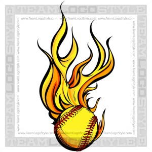 Flaming Softball Art
