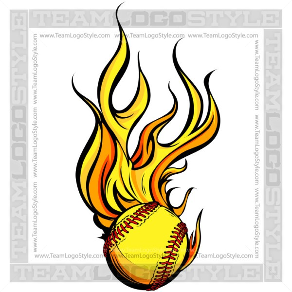 Flaming Softball Art