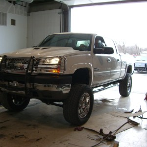 White Lifted Chevy