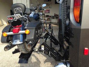 Power motorcycle RV rack