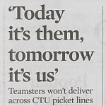 Chicago Tribune Article Highlights Teamsters' Refusal to Cross Teacher Picket Lines