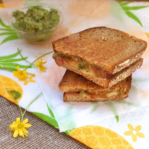 Grilled Cheddar, Bacon & Pear with Green Garlic Pesto