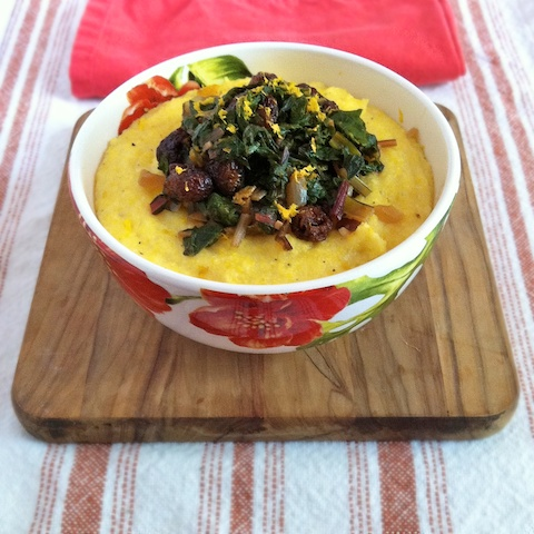 Braised Swiss Chard with Dried Cherries over Polenta